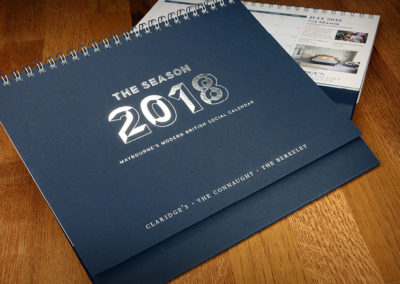 Bespoke luxury calendar design for the Maybourne Hotel Group, London (The Berkeley, The Connaught and Claridge's)
