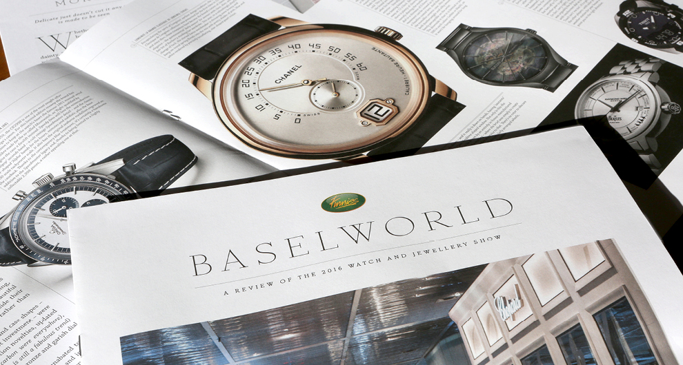 Baselworld Watch and Jewellery Show  supplement graphic design and production for Finnies the Jeweller, Aberdeen