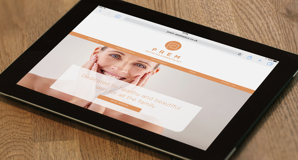 Corporate identity design, branding and bespoke website design for Prem Aesthetics, Sawbridgeworth