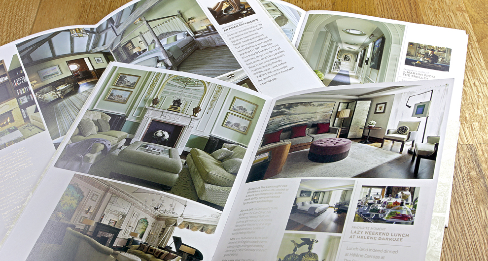 Brochure graphic design and production for The Connaught Hotel, London
