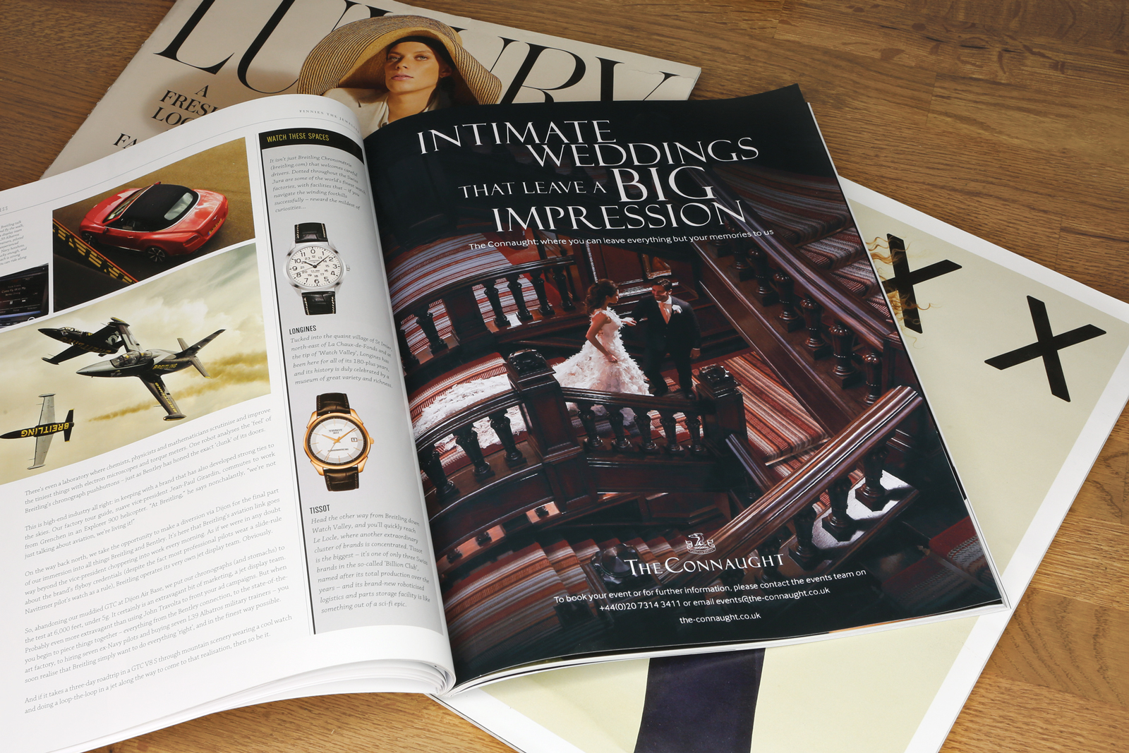 Magazine advert design for The Connaught Hotel, part of the Maybourne Hotel Group, London