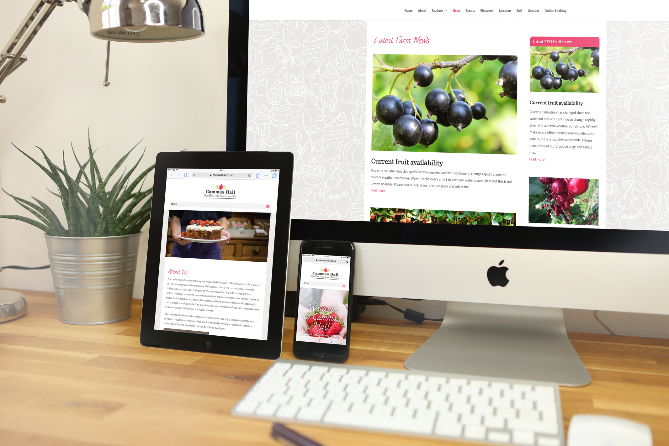 Fully responsive, bespoke WordPress website design for Cammas Hall Fruit Farm