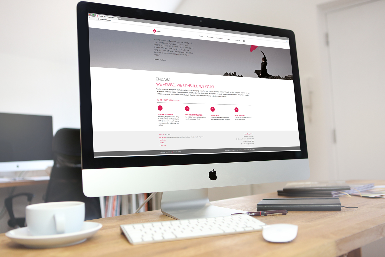 Bespoke website design & build for executive search and market intelligence company, Endaba