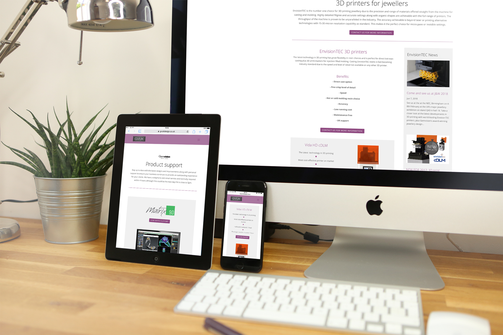 Fully responsive bespoke desktop, tablet and mobile WordPress website for GVUK Design Limited