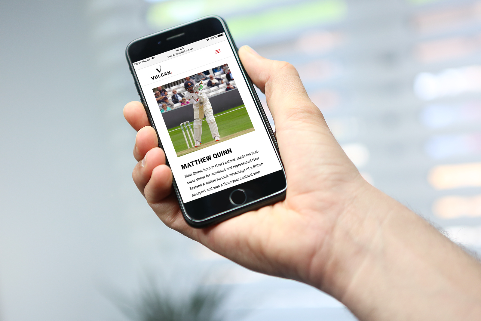 Corporate identity design and bespoke WordPress website for Vulcan Cricket