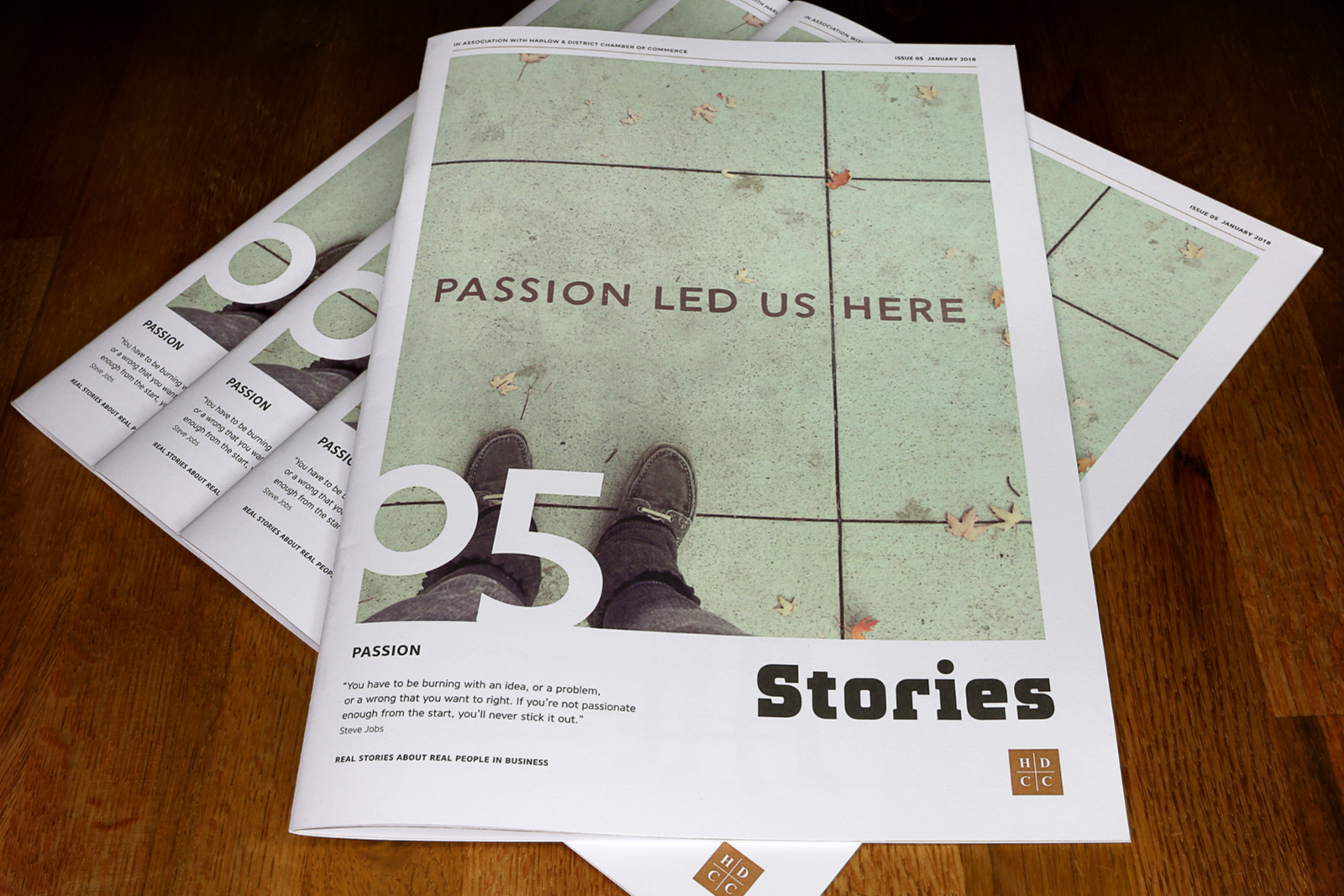 Graphic design and production of Harlow District Chamber of Commerce members magazine, Harlow Stories: Issue 05