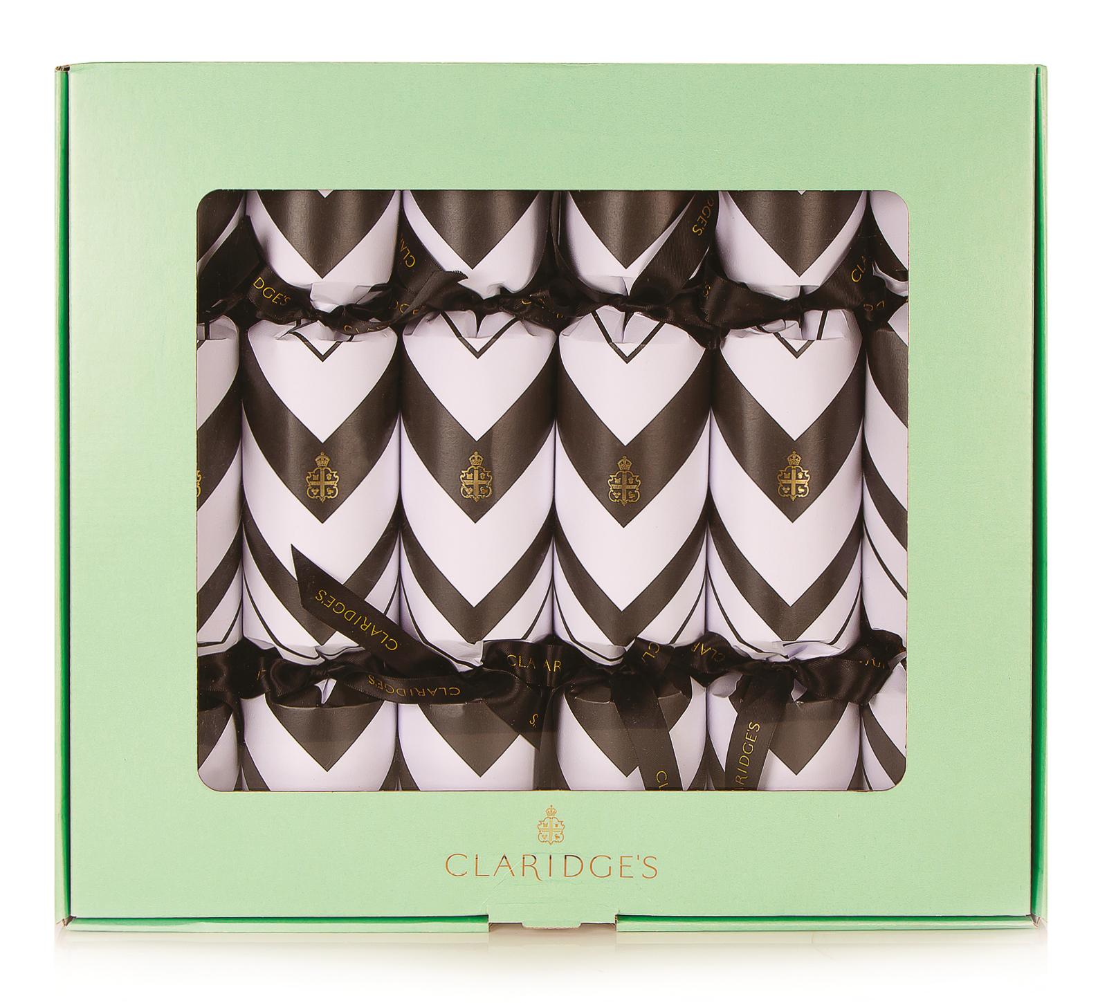 Claridges Hotel Christmas Cracker featuring iconic chevron print design