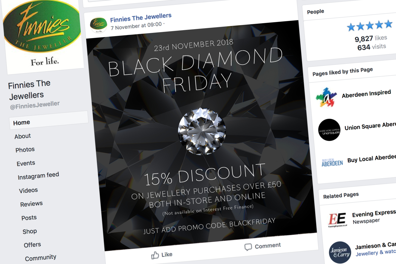 Finnies Black Friday 2018 Web campaign (facebook)