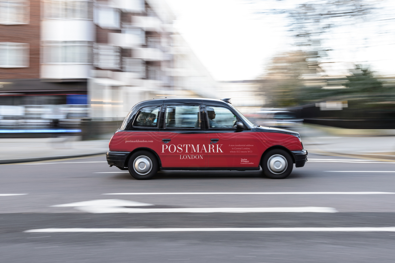 Signage marketing for Postmark London development (taxi wrap)