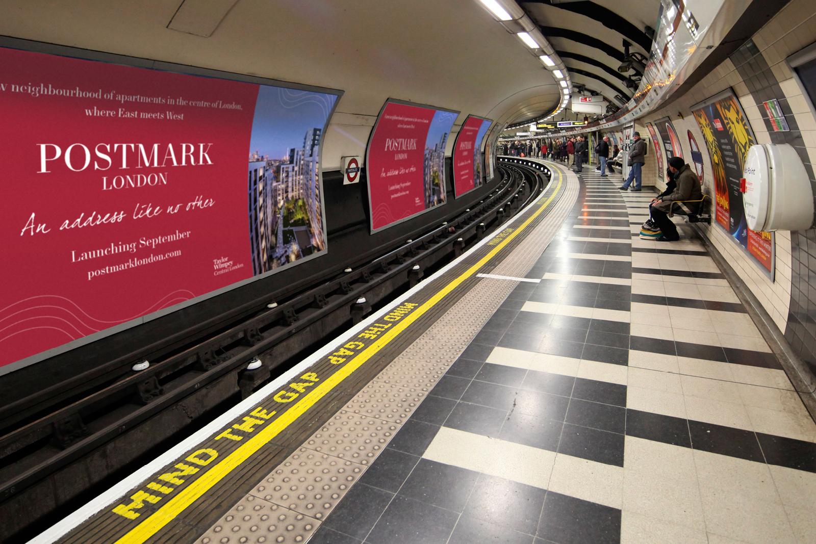 Signage marketing for Postmark London development (Tube tunnel banner)