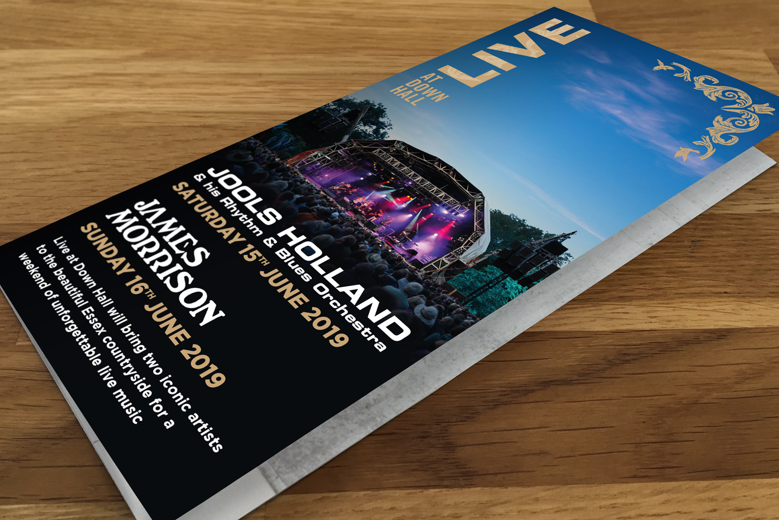 Live at Down Hall print marketing leaflet, featuring Jools Holland and James Morrison