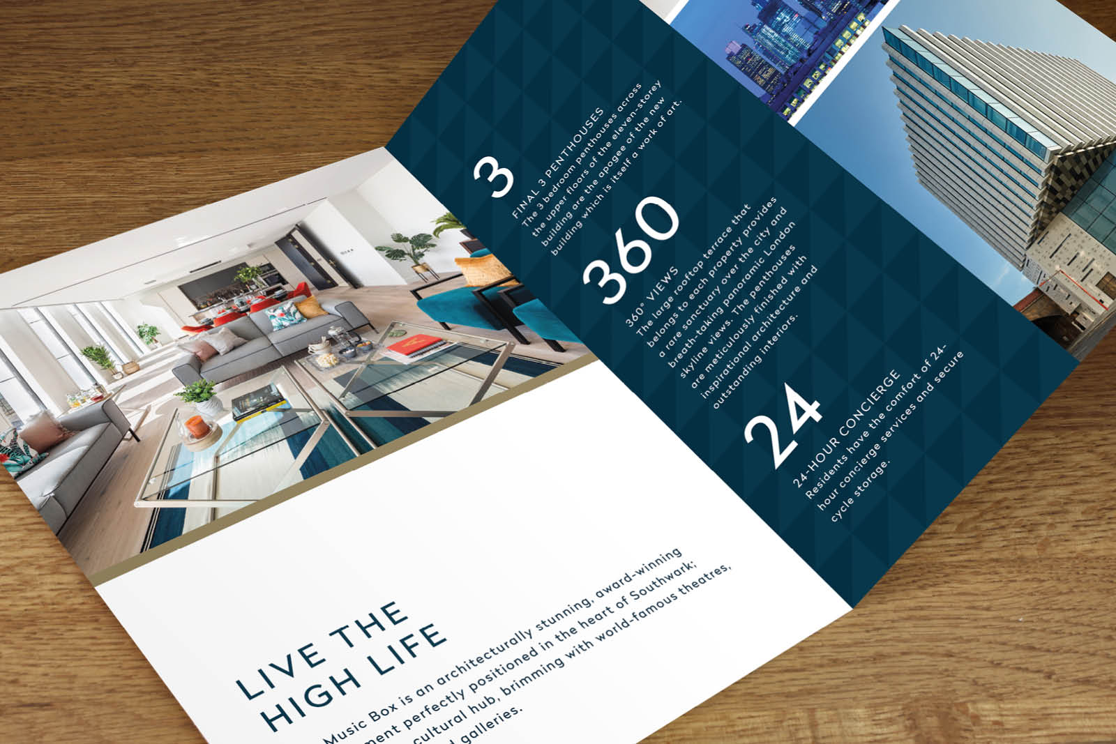 Diverse mix of graphic design, print and digital design for Taylor Wimpey Central London's, 'The Music Box' development