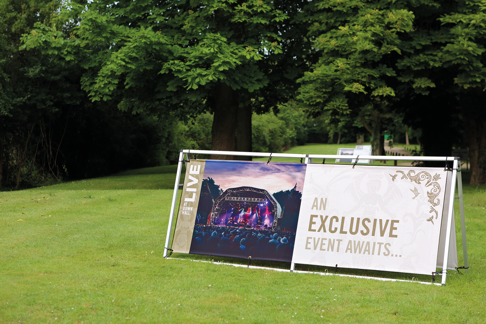 Live at Down Hall Branding, Marketing, Graphics and Event Signage