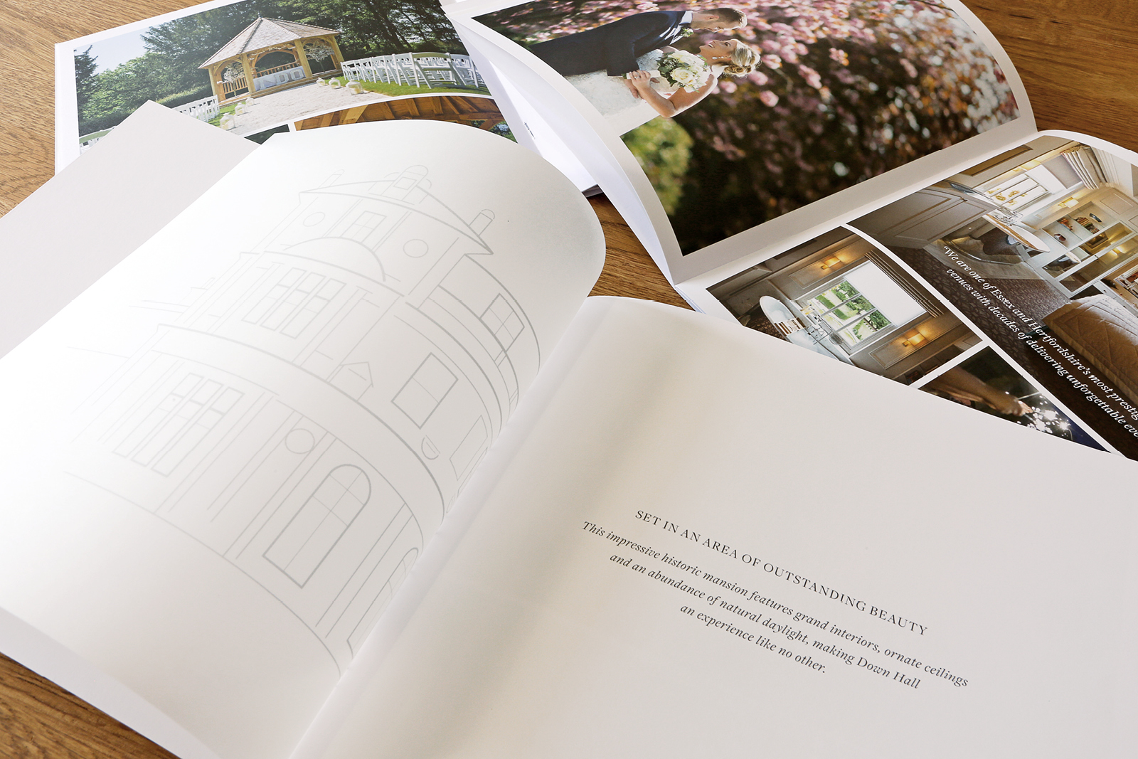 Wedding brochure graphic design & production for Down Hall, luxury country house hotel & spa located on the Hertfordshire and Essex border in Hatfield Heath.