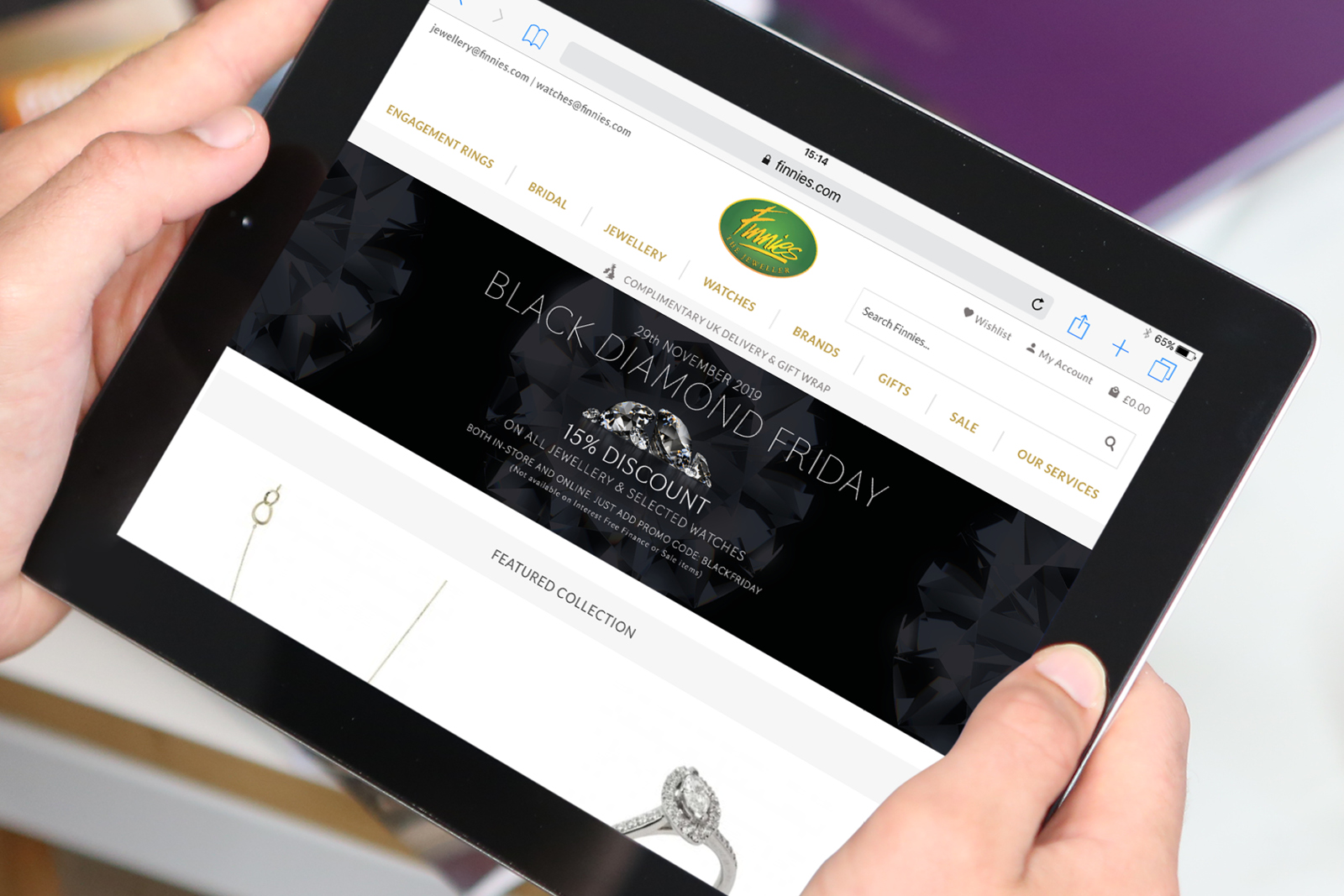 PORTFOLIO 'Black Diamond Friday' online marketing campaign for Finnies the Jewellers, Aberdeen